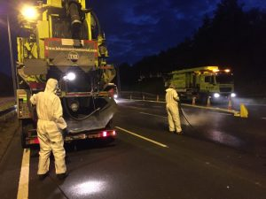 Spillage clearance works carried out at night on motorway